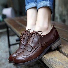 Vintage Womens Shoes Classics Lace Up Dress Oxfords Low Flats Heels tassels  in Clothing ba37de47b063