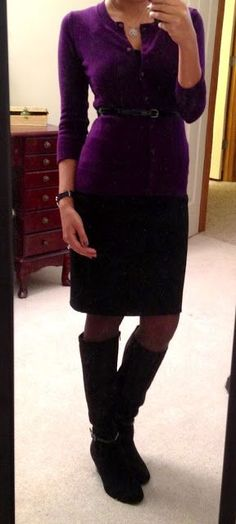 Something that I might actually wear:  tank top, cardigan, skinny belt, pencil skirt & boots