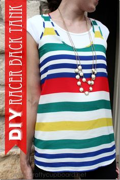Striped Racer Back Tank by the Crafty Cupboard