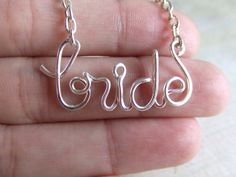 Bride Necklace Silver Word Necklace Personalized Necklace Brides Gift Wire Wrap Jewelry Gifts under 20