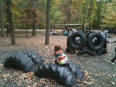 A Childhood List: Tire Park Playground (Patapsco Valley State Park) Kids Outdoor Play, Outdoor Play Areas, Kids Play Area, Outdoor Fun, Outdoor Toys, Outdoor Spaces, Tire Playground, Outdoor Playground, Playground Ideas