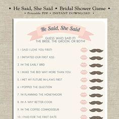 He Said She Said Printable Bridal Shower Game by Merrily Designs on Etsy #merrilydesigns