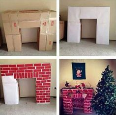 Build a cardboard fireplace to hang your Christmas stockings christmas fireplace Top 30 Lovely and Cheap DIY Christmas Crafts Sure to Wow You - HomeDesignInspired Christmas Hacks, Noel Christmas, Christmas Projects, All Things Christmas, Winter Christmas, Christmas Stockings, Christmas Decor Diy Cheap, Homemade Christmas, Christmas Program