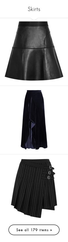 """""""Skirts"""" by mihaliakt1 ❤ liked on Polyvore featuring skirts, leather skirt, knee length leather skirt, knee length a line skirt, leather a line skirt, real leather skirt, bottoms, navy, calf length skirts and navy blue knee length skirt"""