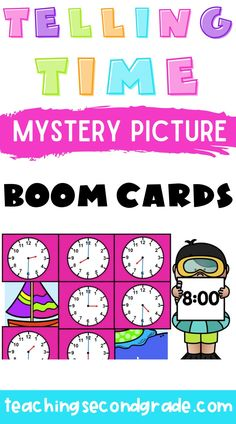 I just love BOOM cards. I use them with my class and it is so nice to have a quick assessment of whatever skill my students are working on. They are perfect for distance learning. This activity is perfect for helping your kindergarten, 1st, and 2nd grade students learn to tell time from afar. it has 3 mystery pictures with 9 problems in each set. #distancelearningactivities #2ndgradeactivities #boomcardsactivities Learning Resources, Student Learning, Teaching Math, Teacher Resources, Teaching Second Grade, Second Grade Math, Learn To Tell Time, 2nd Grade Activities, Time To The Hour