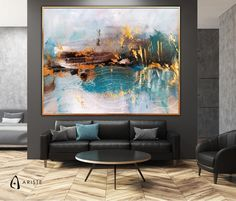 This abstract panoramic wall art will beautifully complement an interior with blush purple or gold decor elements. Horizontal composition and size make it perfect addition for a living room, bedroom, or dining room. This item is fully handmade, painted with acrylic paints on canvas, varnished,