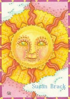 RAY MAN - Susan Brack original Celestial Sun Folk Art EBSQ ACEO