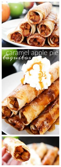 Caramel Apple Pie Taquitos - A Dash of Sanity