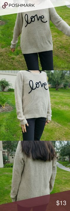 Lauren Conrad love sweater Brand: Lauren Conrad  Size: medium  Condition: worn but still looks great Color: cream color with metallic color material weaved into it. The word love is black.  Same day/ next day shipping:) Lauren Conrad  Sweaters