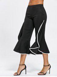 $13.87  Ruffle Trim Flare Pants - Black - 2xl