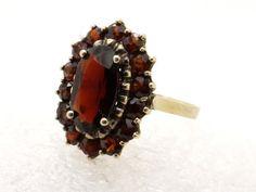 Victorian Garnet Ring 8K Gold, Size 6 3/4, Red Bohemian Garnets, Garnet Cluster Ring, Antique Golden Ring, Edwardian Style, Vintage Jewelry at VintageArtAndCraft