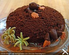 Fun Food Kids Kuchen cake Maulwurfskuchen Maulwurfkuchen Bananen banana cream Sahne Marzipan mole chocolate Schokolade chefkoch.de animals Tiere Garten garden