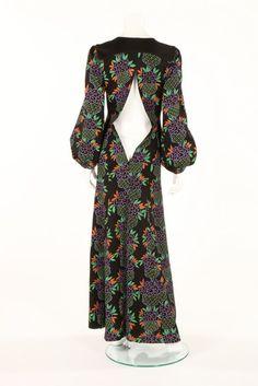 An Ossie Clark/Celia Birtwell printed black wool jersey evening dress, 1973 Biba Fashion, Fashion 2020, Retro Fashion, Vintage Fashion, Fashion Trends, Celia Birtwell, Ossie Clark, Vintage Gowns, Vintage Barbie
