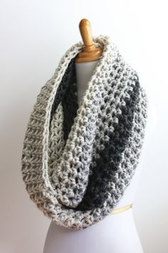 Oversized Infinity Scarf, Oversized Knit Scarf, Ombre Scarf, Snood