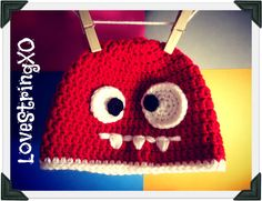 Quirky Monster Crochet Beanie / Child hat /  Photo Props / Etsy Baby / Crochet Bebe / Handmade gift ideas. $26.00, via Etsy.