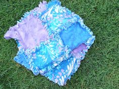Blue and Purple Water Colors Security Blanket Ragged by AuntBugs, $18.00
