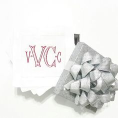 Monogrammed cocktail napkins are the perfect Valentine's gift for her!! Dress your bar cart up with a set today!!