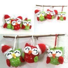 lechuzas o buhos navideños, lechuza amigurumi, lechuza crochet, chritmas owl
