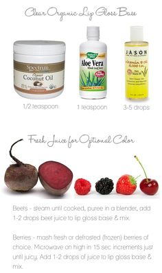DIY organic lipgloss. I would heat in a small double boiler or glass bowl on top of boiling water.  -Marcella  www.bbinsideout.com