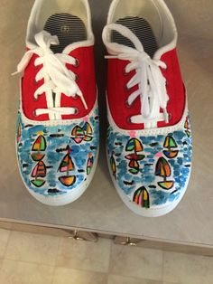 Painted sailboat shoes. $45