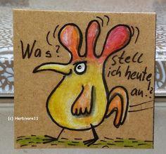 WAS ? STELL ICH HEUTE AN ! ? von Herbivore11 Unikat Minibild Magnet Hahn Gockel