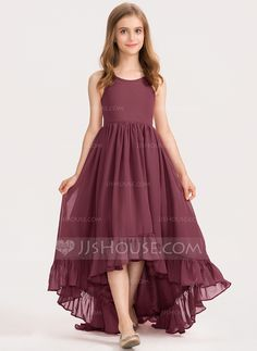 A-Line Scoop Neck Asymmetrical Chiffon Junior Bridesmaid Dress With Bow(s) Casca. - A-Line Scoop Neck Asymmetrical Chiffon Junior Bridesmaid Dress With Bow(s) Cascading Ruffles Stylish Dresses For Girls, Stylish Dress Designs, Frocks For Girls, Dresses Kids Girl, Girls Frock Design, Long Dress Design, Kids Frocks Design, Casual Bridesmaid Dresses, Casual Dresses