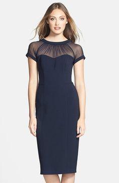 Women's Maggy London Illusion Yoke Crepe Sheath Dress