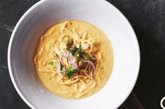 For an Asian inspired hearty soup, try this creamy Thai coconut noodle soup recipe.