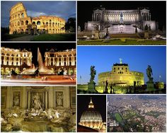 Views of Rome:  the Colosseum, followed by the Monument to Vittorio Emanuele II, the Piazza della Repubblica, the Castel Sant'Angelo, the Trevi Fountain, the dome of St. Peter's Basilica and finally an aerial view of the city's historic centre