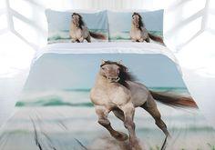 Wild Stallion Horse Mustang Quilt Doona Cover Set - Single Double Queen in Home & Garden, Bedding, Quilt Covers Horse Bedding, Horse Quilt, Mustang, Quilt Cover Sets, Queen, Bed Covers, Quilts, Bedding Decor, Animals