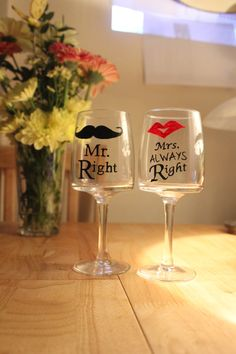 Mr & Mrs Hand Painted Wine Glasses by ChinegateStudio on Etsy