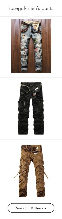 """""""rosegal- men's pants"""" by fshionme ❤ liked on Polyvore featuring men's fashion, men's clothing, men's jeans, mens cotton jeans, mens frayed jeans, mens zipper jeans, mens denim jeans, men's pants, men's casual pants and mens zip off cargo pants"""
