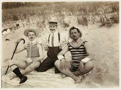 Vintage beach photo Men's bathing suits. Dave is drawing heavily from these.