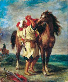 ウジェーヌ・ドラクロワ 《馬に鞍をおくアラブ人》  1855年 油彩・カンヴァス  ©Photo: The State Hermitage Museum, St. Petersburg, 2012