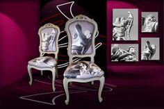 """Sedute Artistiche CASTèSTYLE - La tappezzeria è realizzata con un dettaglio dei famosi """" Angeli del Bernini """" fotografati da Mauro Manco"""