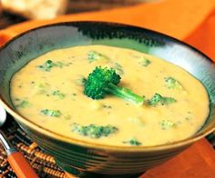 Cheesey Broccoli Soup (gluten free) recipe here: http://whatsfordinner-momwhatsfordinner.blogspot.com/2011/10/creamy-broccoli-cheese-soup.html