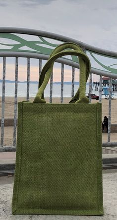 "Natural Jute Tote Bag w// Handles Foldable Green Reusable Eco-Safe 16/""x 12/""x 5/"""