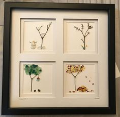 Enjoy 4 different sea glass art works in one piece! This 12x12 double matted black frame perfectly divides the four images. Each 4x4 section shows a different season. Perfect unique gift for someone who is transitioning in life, loves nature, or loves sea glass.