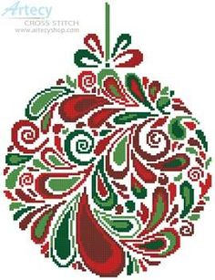 Colourful Christmas Bauble 5 - cross stitch pattern designed by Tereena Clarke. Category: Ornaments.