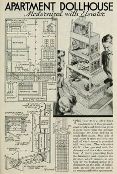 Plans for a dollhouse with elevator. The Young Craftsman - a Popular Mechanics book of projects. Download this delightful copyright free ebook in Kindle, epub or pdf format: https://archive.org/details/youngcraftsmande00chicrich