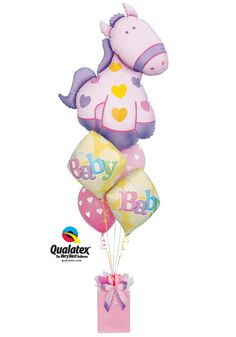 Celebrate a #baby girl with a cute bouquet of #balloons topped with a big pony-shaped Microfoil.