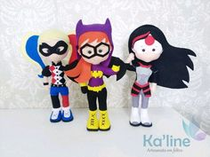 Kit Super Heroínas - Bonecos em Feltro no Elo7 | Kaline - Artesanato em Feltro (E933CE) Batgirl, Supergirl, Katana, Wonder Woman Party, Hero Girl, Ladies Party, Dc Comics, Dolls, Fictional Characters
