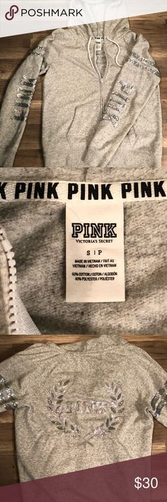 Victoria's Secret (Pink) zip up jacket Heather Grey sequined zip up hooded jacket!! EXCELLENT condition, no tears, frays, stains or missing sequins!!! PINK Victoria's Secret Jackets & Coats