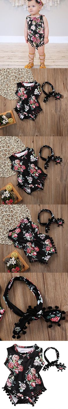 Cute Adorable Floral Romper Baby Girls Sleeveless Tassel Romper One-pieces +Headband Sunsuit Outfit Clothes (12-18 Months, Black)