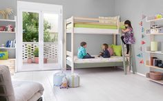 Bunk bed and bookcases made of solid wood.     #kids