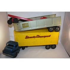 STRUCTO TRANSPORT 1950'S FREIGHT HAULER TRUCK & 3 TRAILERS LARGE PRESSED STEEL