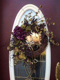 "Spring Wreath Summer Wreath Grapevine Door Wreath Decor...""Plum Delicious"""
