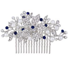 EVER FAITH Silver-Tone Crystal Simulated Pearl Bridal Flower Leaf Vine Hair Comb * Check this awesome product by going to the link at the image.