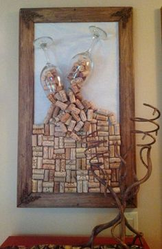 Crafts with corks – 55 cool decorative items and furniture – Ideen rund ums Haus – Wine Cork Art, Wine Cork Crafts, Wine Bottle Crafts, Wine Corks, Wine Cork Projects, Diy Crafts To Do, Deco Originale, Creation Deco, Diy Wall Art