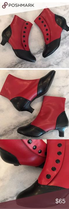 "Victorian Bordello Snap On Funky Booties NWOB Bordello Faux Leather Funky Booties  Size: 8  Heel height: under 2""  New Without Box, Excellent Condition- small dark mark on front of left right bootie (photo above) Bordello Shoes Heeled Boots"